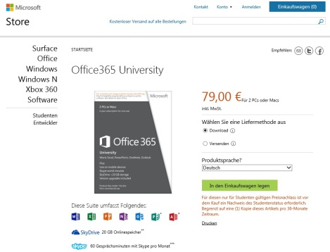 Office 2013 Studenten