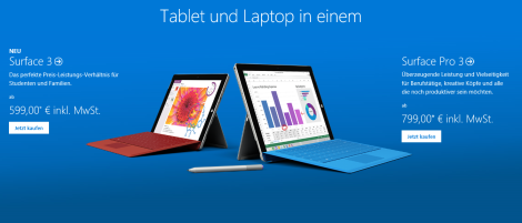 Surface 3 VS Surface Pro 3