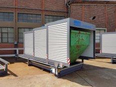 Containerstellplatz bestehend aus verfahbarem Dach und Wannensystem zur Lagerung eines Containers