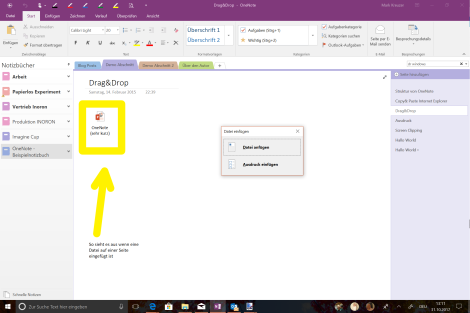 OneNote Drag Drop